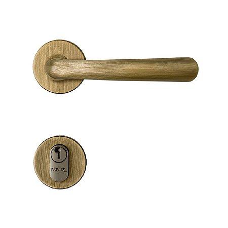 Fechadura para Porta de Entrada Oxidada 55mm com Roseta MZ430 Design Papaiz