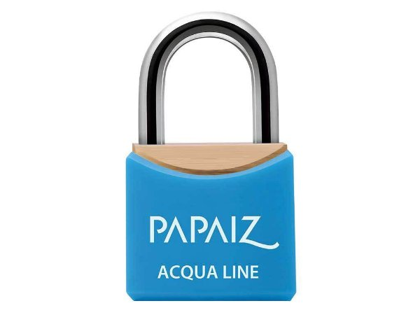 Cadeado com Chave Resistente a Umidade 40mm Latão Azul Acqua Line Papaiz