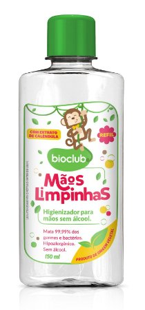 REFIL para Higienizador para Mãos sem Álcool (Fórmula Hidratante) 150ml - Bioclub Baby