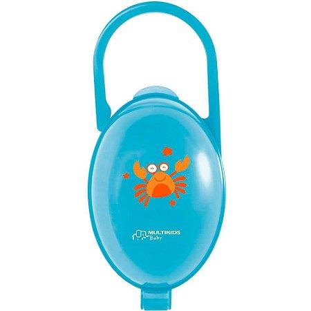 Porta Chupetas Paci Clean Caranguejo Azul - Multikids Baby