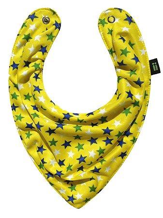 Babador Bandana Estrelado Amarelo - Gumii
