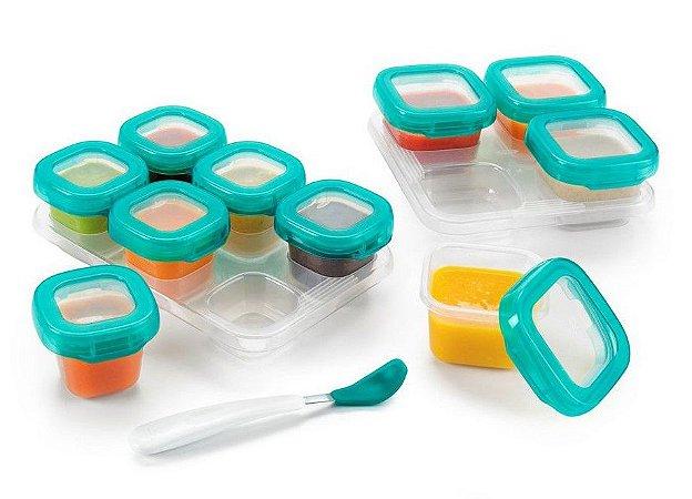 Bandeja com 10 Potes de Armazenamento com Tampa (4 x 120ml e 6 x 60ml)) Permite Freezer e Microondas - Oxo Tot