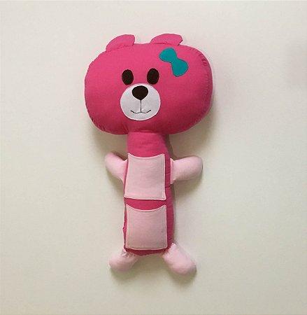 Almofada para Cinto de Segurança Urso Rosa - Colo de Mãe