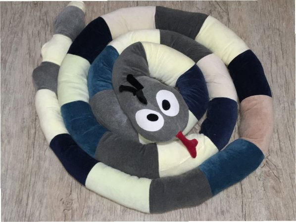 Cobra de Plush Multiuso Montessoriana Cabeça Cinza 5 metros - Colo de Mãe