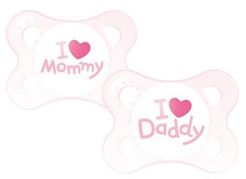 "Chupeta Ortodôntica Silk Touch ""I Love Mammy"" e ""I Love Daddy"" (02 unidades) 0 a 6 Meses Menina - MAM"