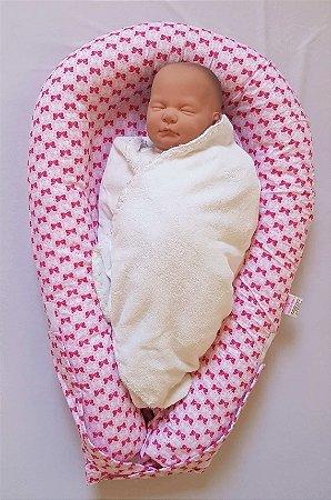 Ninho U-Baby Redutor de Berço Lacinhos Rosa - Colo de Mãe