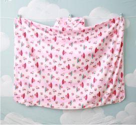 Toalha Infantil (Tamanho Grande) Passarinhos Rosa - Colo de Mãe