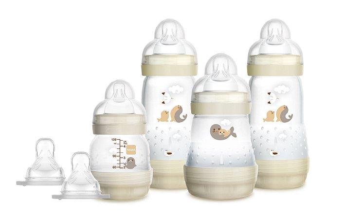 Kit Mamadeira MAM Easy Start First Bottle Anti-Cólica e Auto-Esterilizáveis Bege Neutral