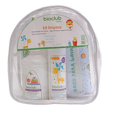 Kit Necessaire Limpeza (Spray de Água de Passar + Neutralizador de Cheiros + Saco de Lavar Roupa) - Bioclub Baby