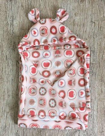 Cobertor Infantil com Capuz Corujinha Rosa - Colo de Mãe
