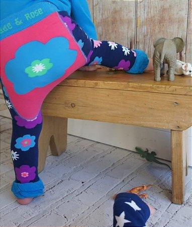 Meia Calça Legging Flor Azul - Blade and Rose