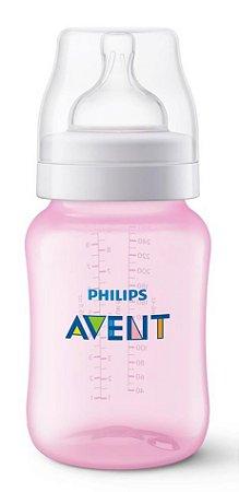 Mamadeira Clássica Anti-Cólica 260ml 1+ Meses Rosa - Philips Avent