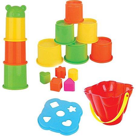 Empilha Copos com Peças de Encaixe Colorido - Dican