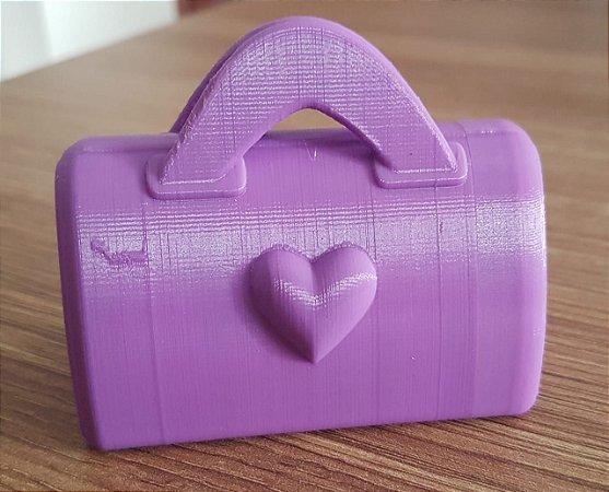 Porta Caca com Case Chaveiro Bolsa Lilás com 12 Saquinhos - Baby & Me