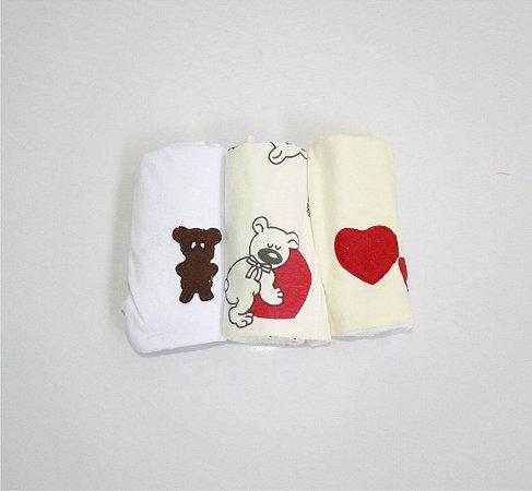 Pano de Boca para Bebê (3 unidades) Urso - Colo de Mãe