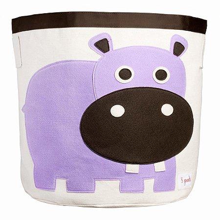 Cesto Organizador de Brinquedos Redondo Hipopótamo - 3 Sprouts