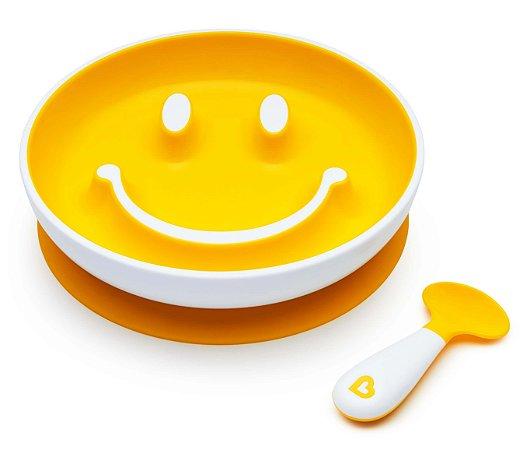 Prato de Treinamento com Ventosa e Colher Sorriso Amarelo - Munchkin
