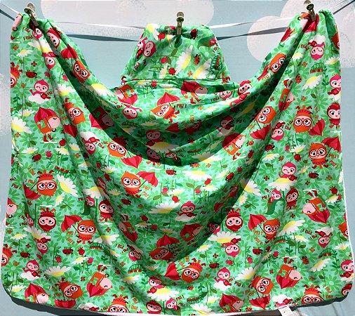 Toalha Infantil (Tamanho Grande) Passarinhos Verde - Colo de Mãe