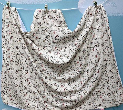 Toalha Infantil (Tamanho Grande) Pug com Laços - Colo de Mãe