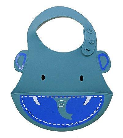 Babador de Silicone Elefante Azul - Kababy