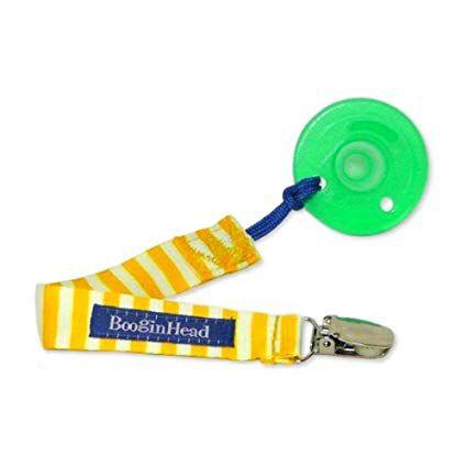 Prendedor de Tecido para Chupeta UNIVERSAL Amarelo e Branco - Pacigrip BooginHead