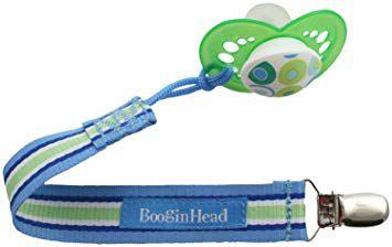 Prendedor de Tecido para Chupeta UNIVERSAL Azul Claro e Verde - Pacigrip BooginHead