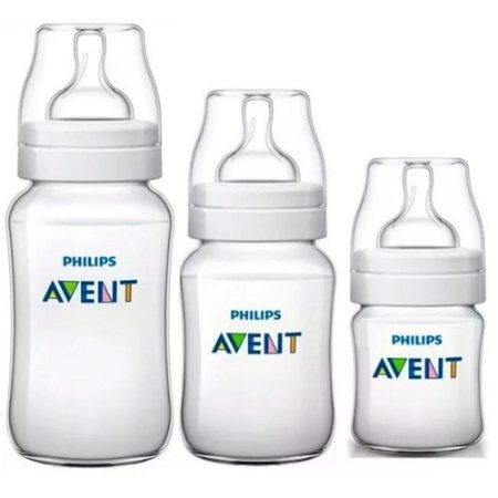 Kit Mamadeira Avent Clássica Anti-Cólica 125ml + 260ml + 330ml - Philips Avent