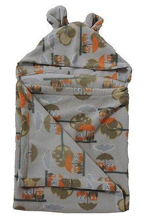 Cobertor Infantil com Capuz Coruja Cinza - Colo de Mãe