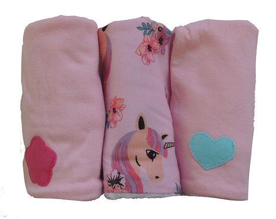 Pano de Boca para Bebê (3 unidades) Unicórnio - Colo de Mãe