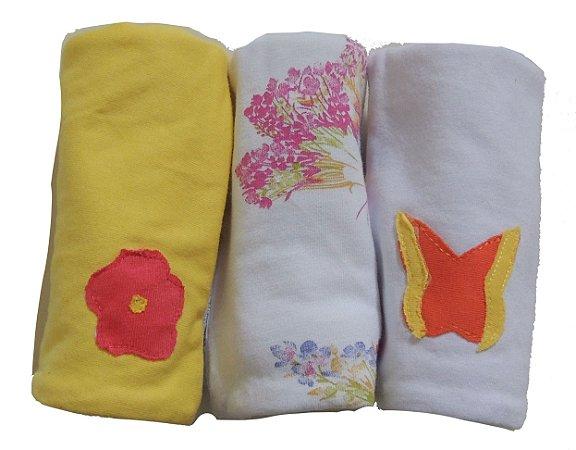 Pano de Boca para Bebê (3 unidades) Borboletas - Colo de Mãe