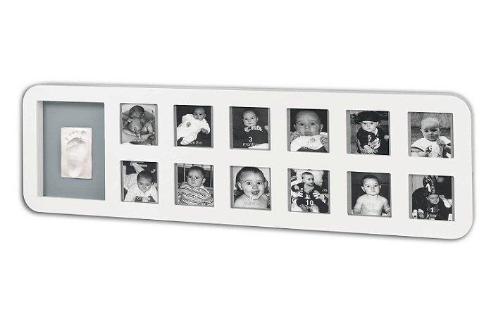 Painel de Fotografias do Bebê com Molde White & Grey - Baby Art
