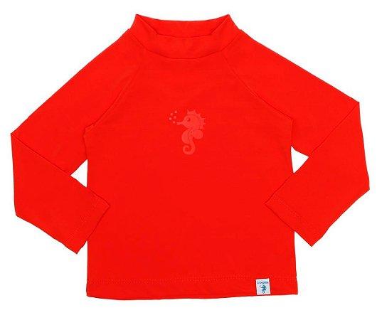 Camiseta Infantil de Banho com FPS 50+ Manga Longa Vermelha - Ecoeplay