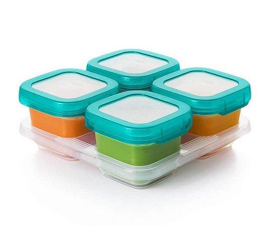 Bandeja com 04 Potes de Armazenar com Tampa (4 x 180ml) Permite Freezer e Microondas - Oxo Tot