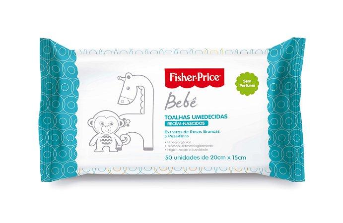 Toalhas Umedecidas Fisher-Price Bebê sem Perfume 50 unidades