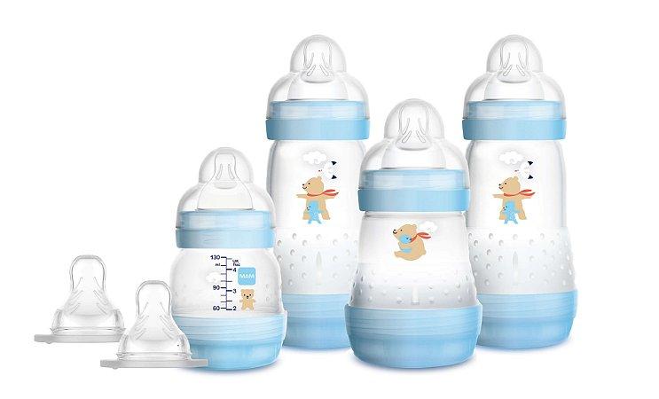 Kit Mamadeira MAM Easy Start First Bottle Anti-Cólica e Auto-Esterilizáveis Menino