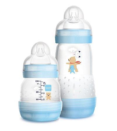 Kit Mamadeira MAM First Bottle Anti-Cólica e Auto-Esterilizáveis 130ml + 260ml Menino