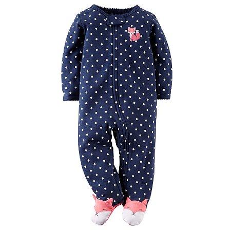 Macacão Pijama Azul de Bolinhas e Mini Raposa Rosa 09 Meses