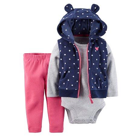 Conjunto Girl 3 Peças Colete Azul Calça e Body Listrado Carters 09 Meses