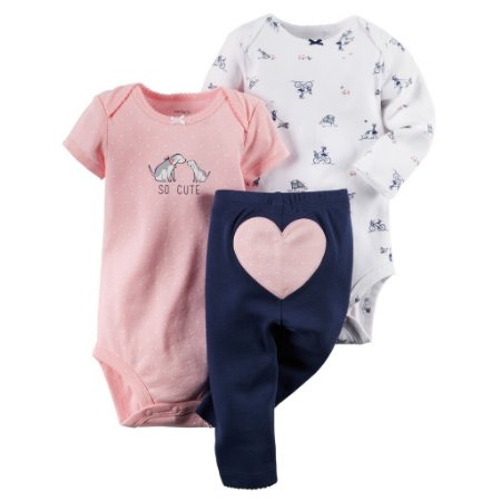 Conjunto Carters Girl 3 Peças Body rosa Manga Longa Curta e Calça 12 Meses