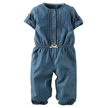 Lindo Macacão Jeans Carters Girls Azul com Laço 18 Meses