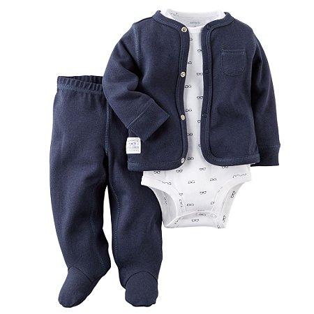 Conjunto Carters Menino 3 Peças Body Branco Manga Longa Blusa e Calça 06 Meses