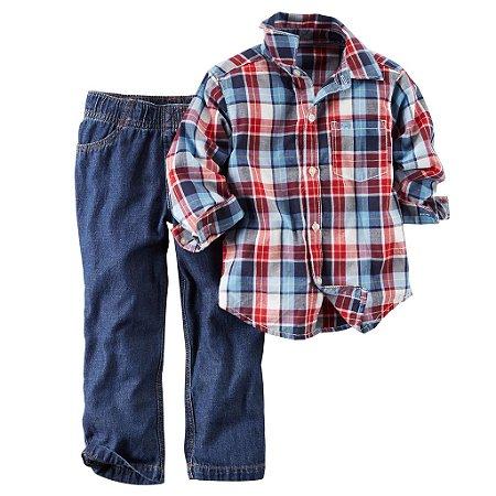 Lindo Conjunto 02 Peças Carters Menino Xadrez e Calça Jeans 12 Meses