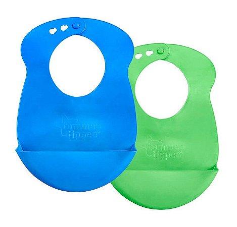 Babadores de Silicone Roll N' Go Azul e Verde - Tommee Tippee