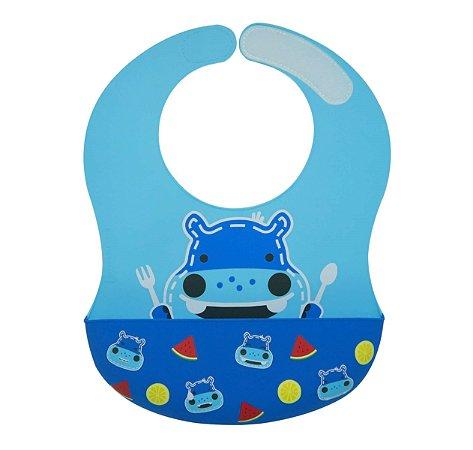 Babador de Silicone Grande Cobertura Total Hipopótamo - Marcus & Marcus