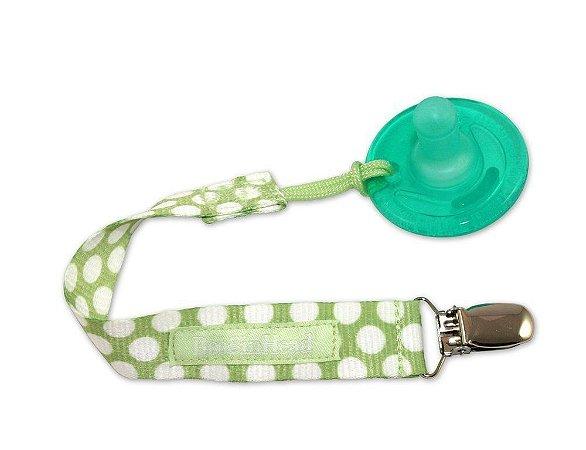 Prendedor de Tecido para Chupeta UNIVERSAL Verde Claro com Poá Branco - Pacigrip Booginhead
