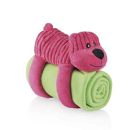 Cobertor Travesseiro e Bicho de Pelúcia Sleepy Pets Urso Rosa - Multikids Baby