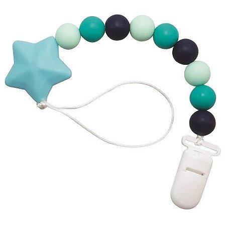 Prendedor de Chupeta com Silicone Estrelinha Azul - Girotondo Baby