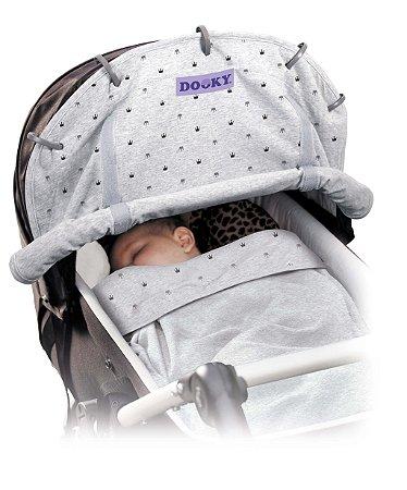 Capa Universal para Carrinho e Bebê Conforto Coroas Cinza Claro - Dooky