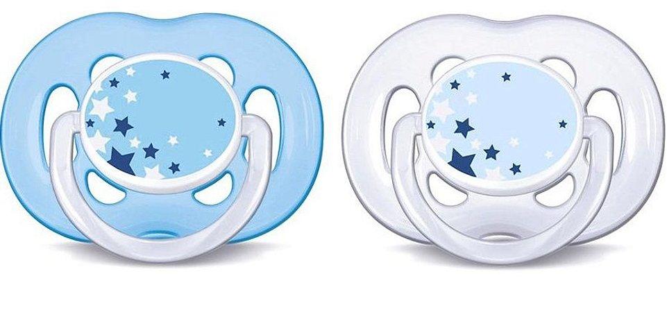 Chupeta Ortodôntica Free Flow Noturna 6-18 Meses com 02 unidades Azul - Philips Avent