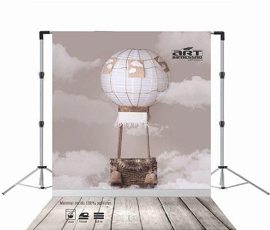 Fundo Fotográfico em Tecido Watercolor Air Balloon